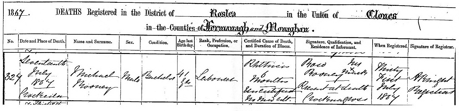 Michael Rooney death certificate from 1867, he was blind and played the fiddle, registered by sister Rose Rooney.